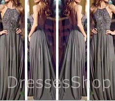 Gray Long Prom Dresses, Straps Prom Gowns,Beaded Evening Dresses, Backless Evening Gowns, Cocktail Dresses Custom on Etsy, $169.00