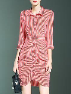 Vestido de rayas solapa asimétrico-(Sheinside)