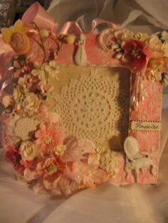 Altered Mixed Media Frame Shabby Chic by AngelDreamCrafts on Etsy, $25.00