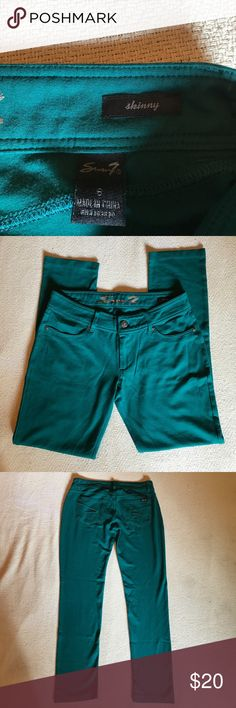 Size 6 green jeggings from Seven jeans very comfy Size 6 green jeggings size 6 Seven skinny jeggings we ship fast www.selvedgeseitz.com Seven7 Pants Leggings