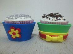 Forminhas de cupcake em eva tema patati patata . <br>O valor refere-se a um pacote com 12 unidades