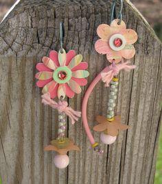Use multi-colored dogbone beads...................................ANNA  Earrings. $26.00, via Etsy.