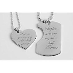 848f58c9f7 Personalized His & Hers Mini Dog Tag & Heart Necklace Set - great  Valentine's