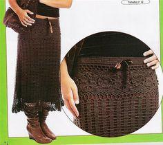 Crochet gold - Brown lace skirt