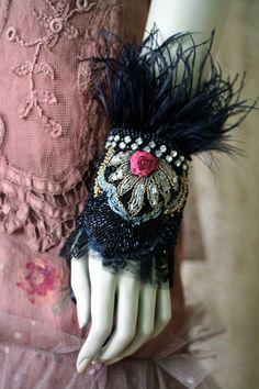 Regal affair bold ornate wrist wrap with antique by FleursBoheme