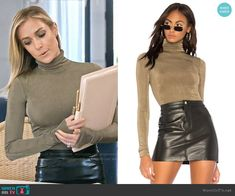 Kristin's khaki green turtleneck and leather skirt on Very Cavallari Green Turtleneck, Turtleneck Outfit, Sexy Work Outfit, Work Attire, Red Leather Dress, Leather Skirt, Work Fashion, Fashion Outfits, Cool Girl Style
