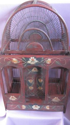 VINTAGE DOME TOP WOODEN BIRD CAGE -DETAILED  HAND PAINTING , w/WOODEN PORCH-