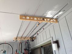 Fishing Pole Storage - Up on the ceiling with pocket screws.