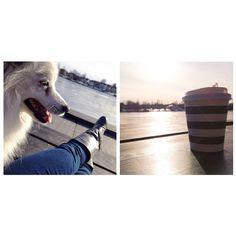 Mini-rekreation tidigare idag: en kopp kaffe, sol, älven och hundsällskap. Återhämtning för själen!  #avkoppling #mindfulness #bepresent #paus #välmående #hälsa #wellness #beautifulday #japanesespitz #relax #coffeebreak