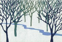 Winter Stream by Margaret Rankin - multi block print - 3 lino blocks and cardboard blocks with applied textures