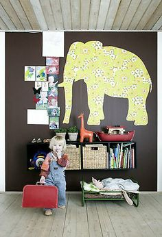 Elephant on dark wall