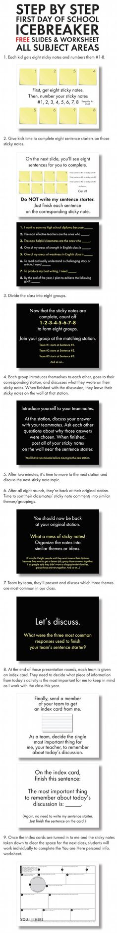 FREE icebreaker stations activity. Works for ALL subject areas in middle school and high school.