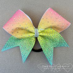 Spring Bling Bow, Rainbow Cheer Bow, Rhinestone Cheer Bow
