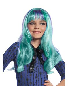 Monster High Twyla Wig at Spirit Halloween - No need to be shy wearing this cool and colorful officially licensed Monster High Twyla Wig. No hanging out in dusty corners when you sport this neon purple and blue character wig with your too ghoul for school costume. Get your Monster High wig today for $16.99.