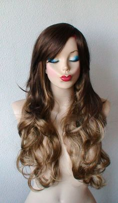 Ombre colored wig. Brown /Honey blonde wig. Long curly by kekeshop, $69.50