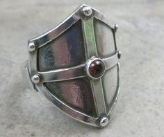 Medieval Shield Fine Silver Ring Renaissance Jewelry by PartsbyNC, $171.00