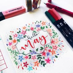 Super pretty bloomy monthly front page. Bullet Journal, Creativity, BuJo, Collection, Creative inspiration, art journaling, scrapbook, travel journal, hand lettering, lettering.