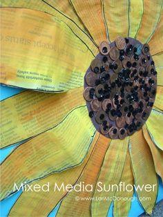 mixed media sunflower by fresh picked whimsy! lori is one of my most favorite artists! Middle School Art, Art School, Fall Art Projects, 3rd Grade Art, Art Lessons Elementary, Autumn Art, Art Classroom, Art Club, Art Plastique