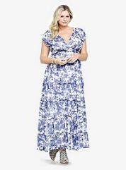 Tiered Floral Chiffon Maxi Dress, Size XL-5X | ElegantPlus.com Editor's Pick