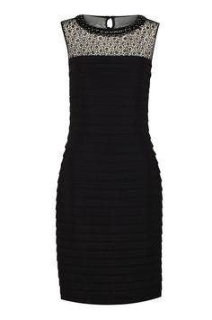Black Pleated Embellished Dress