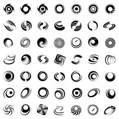 royalty-free design elements set stock vector art more images of spiral Logos, Typography Logo, Art Logo, Hurricane Tattoo, Inspiration Logo Design, Graphic Design Lessons, Symbolic Art, Biomechanical Tattoo, Geometric Symbols