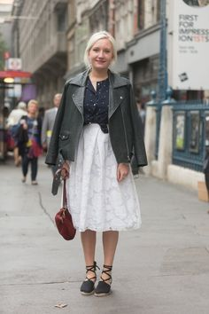 Pin for Later: See All the Best Street Style From LFW LFW Street Style Day 2 A leather jacket and a romantic skirt are an unexpected but great match.
