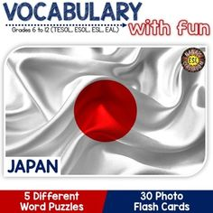 Introduce Japan related vocabulary words with FUN and colorful photos! This product includes 30 photo flash cards, a word search, a picture matching activity, 4 bingo cards, a crossword and a definition matching activity all about Japan and Japanese symbols. ---Puzzles can be used at different times of the year to help your students retain vocabulary words longer.---  JAPAN (5 Word puzzles and 30 Photo flash cards)  ~~~~~~~~~~~~~~~~~~~~~~~~~~~~~~~~~~~~~~~~~~~~~~~~~~~~~~~LEARNING…