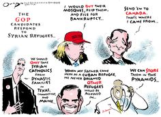The Party of Fear Whether it's Syrian refugees, Ebola or immigration, Republicans are peddling hysteria. Editorial cartoon on 2016 Republican presidential candidates and Syrian refugees
