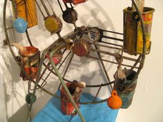 Detail of Gerard Cambon mixed-media ferris wheel at Judy A. Saslow Gallery.