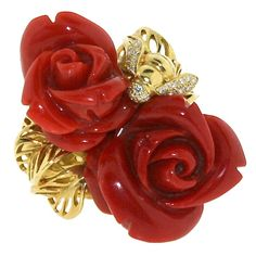 DIOR Carved Coral and Diamond Double Rose and Bee Ring | 1stdibs.com