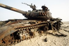 Iragi T72 tank in Desert Storm. The T72 was no match for the coalition's superior firepower.