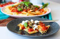 Pasta alla norma- Lättlagad vegetarisk pasta