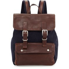 Brunello Cucinelli Buffalo Leather Backpack ($3,295) ❤ liked on Polyvore featuring bags, backpacks, navy, leather rucksack, leather drawstring backpack, genuine leather backpack, strap backpack and navy leather backpack