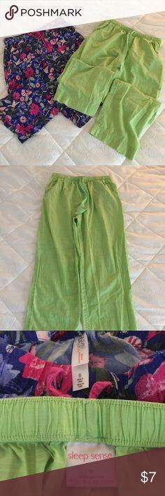 PJ Bundle GUC PJ bundle in size small; green is Sleep Sense and blue multi color is Gilligan & O'Malley; both with drawstring elastic waist and green has front pockets Gilligan & O'Malley Intimates & Sleepwear Pajamas
