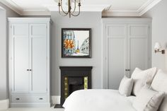 Bedroom Inspiration by Emma Collins - Wardrobe cabinetry designed and manufactured by Humphrey Munson Kitchens Alcove Wardrobe, Bedroom Alcove, Bedroom Built In Wardrobe, Painted Wardrobe, Home Decor Bedroom, Bedroom Furniture, Victorian Bedroom Decor, Victorian Terrace Interior, Master Bedroom