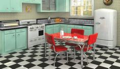 Love this!  - well, at least everything except the wallpaper.  Otherwise, really cool retro kitchen!