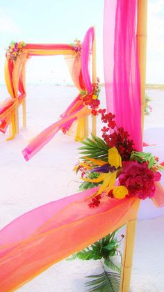 #orange #hot pink #tropical beach wedding