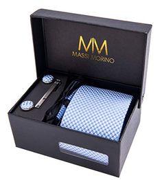 Massi Morino Ensemble Cravate En Microfibre Pince Argent Boutons De Manchette Et Pochette Toucher Soyeux