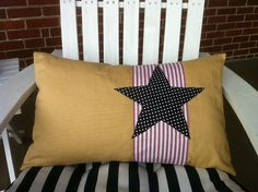 """16x24 inch Decorative pillow  - """"handmade"""" star and stripes patriotic pillowcover"""