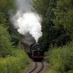 Severn Valley Railway -Clouds of steam  A steam train puffs it`s way towards Highley Station on The Severn Valley Railway, a restored line in central England.
