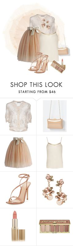 """Soft Glow"" by catsanddogs-563 ❤ liked on Polyvore featuring Alpha Studio, Chicwish, The Row, Gianvito Rossi, L'Oréal Paris, tarte, patent, tulle and satin"