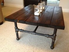 Industrial Coffee Table Made Of Wood In Dark Brown Finishing And Small Wood Pieces Arrangement With Black Steel. Elegant Look Of Industrial Coffee Table In Rustic Design Equipped Living Room Decor, Home Diy, Furniture Diy, Industrial Coffee Table, Rustic Furniture, Homemade Furniture, Furniture, Industrial Style Coffee Table, Home Decor
