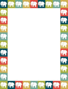 Elephants in squares of various colors. Free downloads available at http://pageborders.org/download/elephant-border/