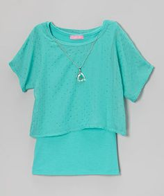 Take a look at this Jade Necklace Layered Top - Girls by Dream Girl on #zulily today!