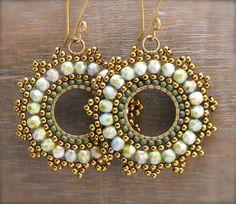 Emerald Isle Beaded Medallion Earrings by HeidiLeeDesign on Etsy, $42.50