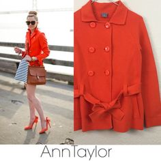 Ann Taylor sweater coat Ann Taylor orange thick cotton sweater coat. Excellent pre loved condition size xs. $129 model used for styling purposes only. Ann Taylor Sweaters