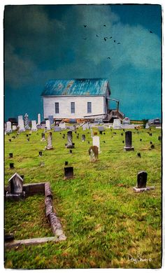 Amazing Grace  18x10  Old country church  Cemetery by Creatography