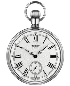 Tissot Lepine Mechanical Pocket Watch, In White/ Silver