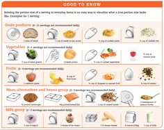 Good to know portion size to everyday objects Portion Size Charts, Food Portion Sizes, Healthy Cooking, Get Healthy, Healthy Eats, Healthy Snacks, Pasta Cup, Food Portions, Portion Control