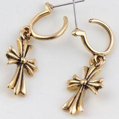 $1.93 Pair of Delicate Cross Pendant Drop Earrings For Women